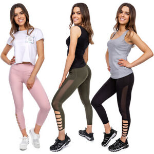 Women-039-s-High-Waisted-Sports-Fitness-Leggings-Workout-Yoga-Mesh-Slim-Fit-HL61