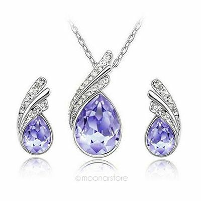 New Korean Style Water Drop of Austrian Crystal Rhinestone Necklace Earrings Set