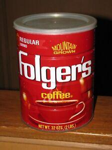 Vintage FOLGERS METAL COFFEE CAN 32 ozs. w/Lid Regular Grind & Empty