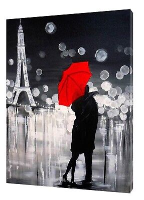 COUPLE WITH RED UMBRELLA IN PARIS PRINT ON FRAMED CANVAS 4 PANELS WALL ART