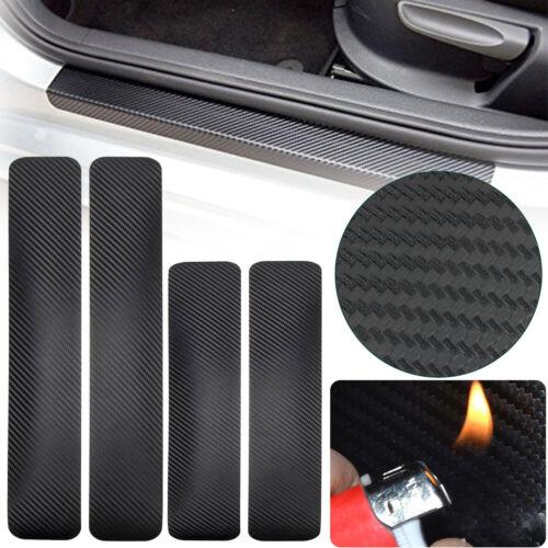 4 Pcs Car Accessories 3D Carbon Fiber Door Sill Scuff Protector Stickers Black
