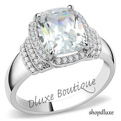 WOMEN'S SILVER STAINLESS STEEL 1 CT CUSHION CUT CZ ENGAGEMENT RING SIZE 5-10