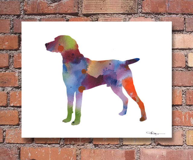 WHIPPET Contemporary Watercolor Abstract ART Print by Artist DJR
