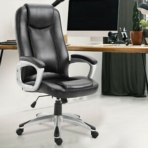Executive-PU-Leather-Rocking-Office-Gaming-Chair-Adjustable-Padded-Seat-Black