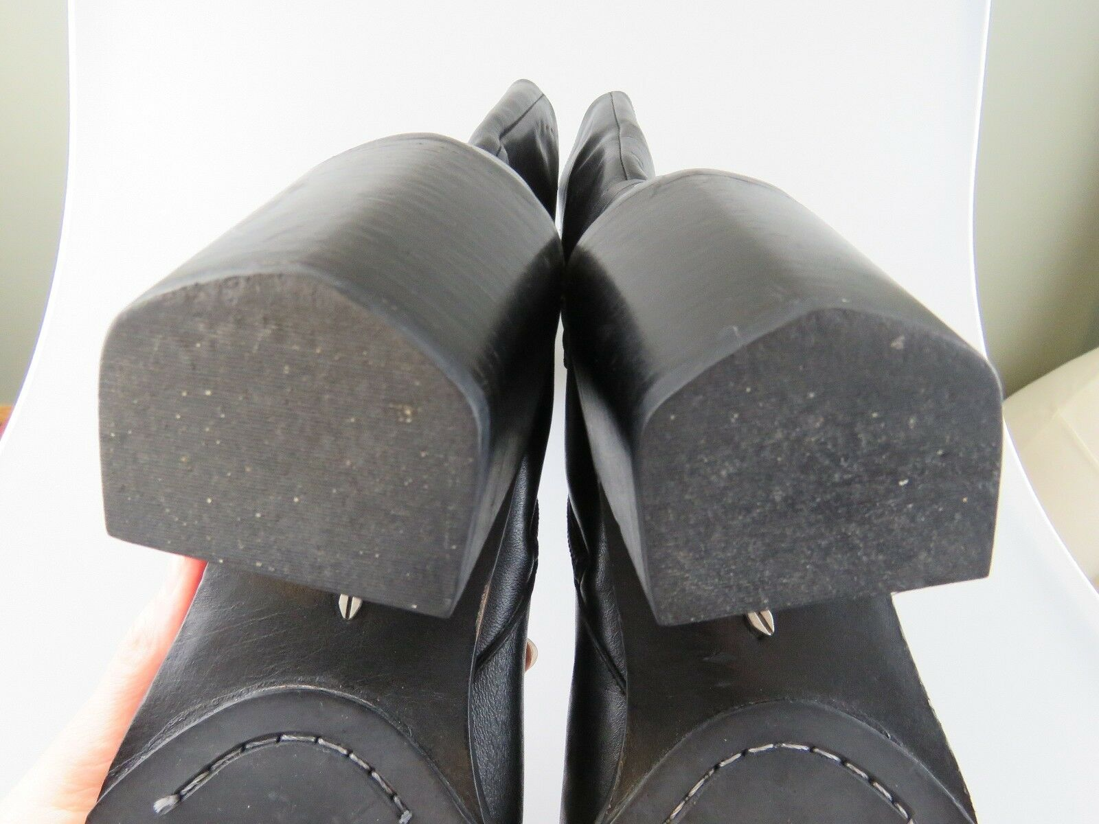 FRYE Tall Stud Black Leather Inner Side Zip Heels Heels Heels Boots Women's US Size 10 b6d998