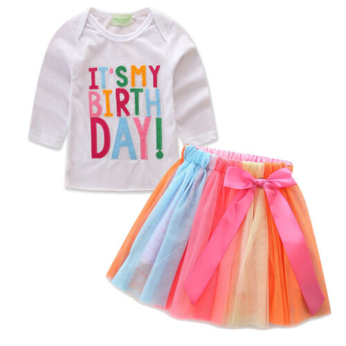 Baby Kids Girls 1st Birthday Outfit Set Tutu Dress Romper Skirt Party Clothes UK