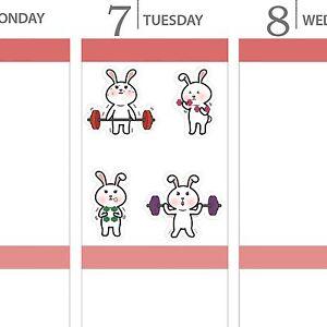 Bunny Rabbit Exercise Workout Gym Cartoon Condren Erin Happy Planner