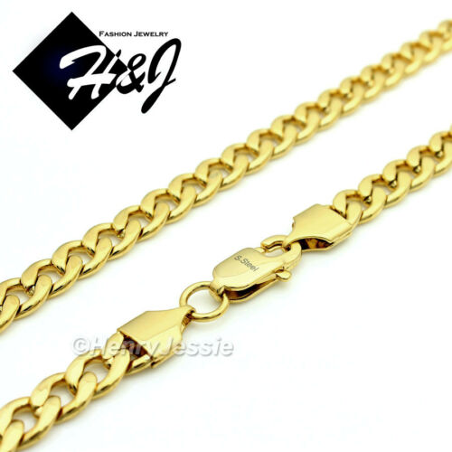 "18-40/""MEN Stainless Steel 6mm Gold Cuban Curb Chain Necklace Cross Pendant*P76"
