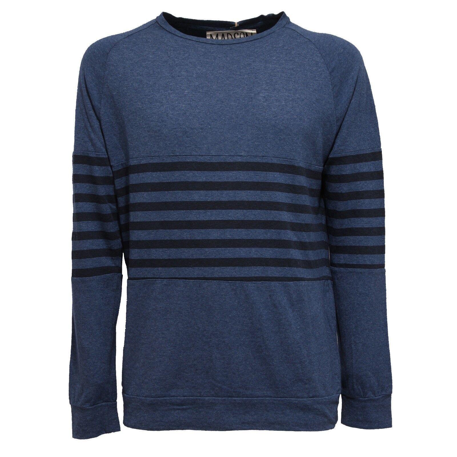 9291S felpa uomo MADSON blu maglia cotone lino sweatshirt men