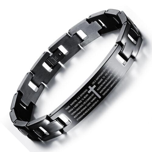 Cool Men Titanium Steel Scripture Cross Shape Chain Bracelets