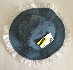Baby Girl Sun Hat 0-6M NEW UPF 50+ Goldbug Denim Blue Look W  White ... 6abad58b4d4a