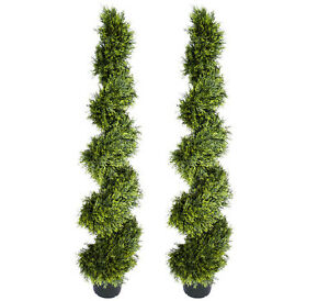 Image Is Loading Two Cypress Topiary 5ft 4 034 Artificial Tree
