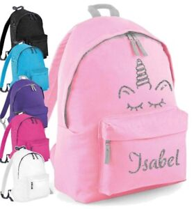 140559bd54ee Image is loading Personalised-Kids-Backpack-Any-Name-Glitter-Unicorn-Girls-
