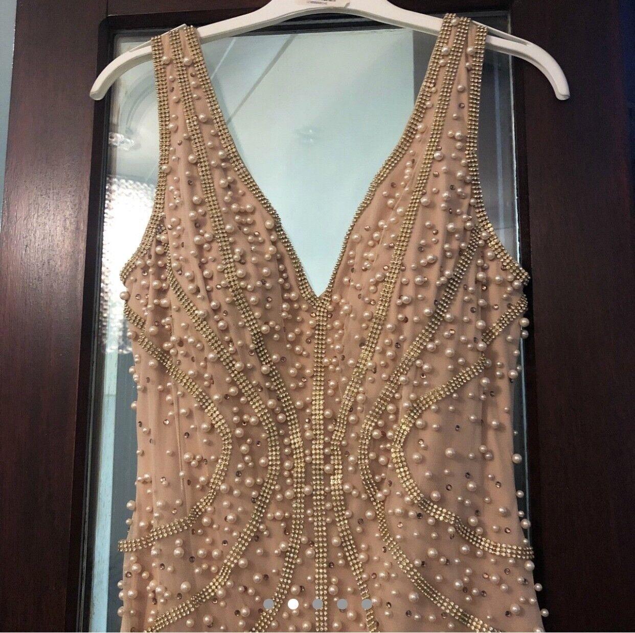 Champagne Evening Dress size 8 10, fully embellished Luxury Turkish Designer
