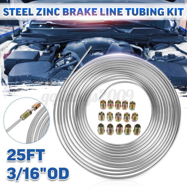 25Ft Coil Roll 3/16''OD Steel Zinc Brake Line Fuel Tubing Pipe Kit & 15 Fittings