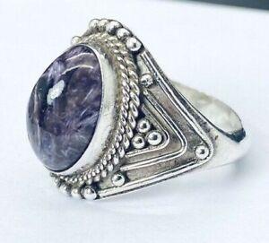 Sterling-Silver-925-Purple-Fluorite-Gemstone-Southwestern-Ring-E81