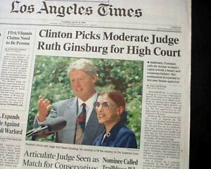 RUTH-BADER-GINSBURG-United-States-Supreme-Court-NOMINATION-Clinton1993-Newspaper