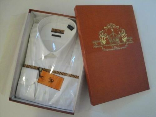 ENZO MEN'S ITALY DRESS SHIRT WHITE TWILL WITH BARREL CUFFS   XL   17   34 35