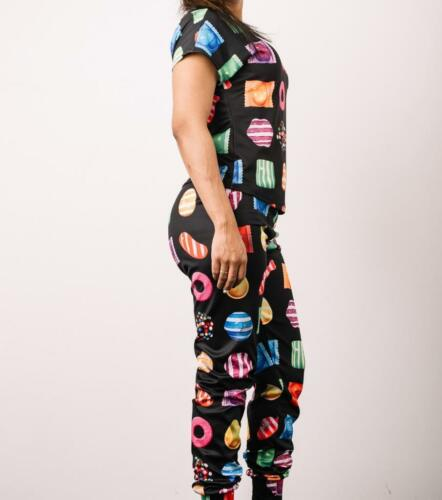 New Juniour/'s Sublimated Black Candy Crush Joggers /& Short Sleeves Top Set S,M,L