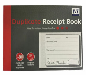 DUPLICATE RECEIPT BOOK Numbered Pages 1-80 2 Sheets Carbon Paper Reciept D3