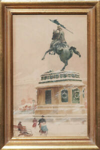 Vienna-Austria-Charles-monument-in-snow-antique-watercolor-painting-Emil-Czech