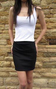 Top-quality-Cotton-Stretch-Elastane-Mini-High-Waist-skirt-Size-8-10-12-14-16-18