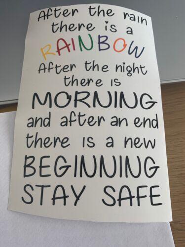 Rainbow Stay safe Wine Bottle Vinyl Decal Sticker #staysafe