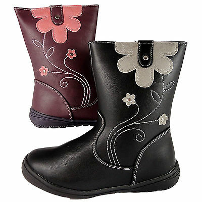 Girls Infant Black Purple Ankle Boots Floral Design Chatterbox Quality