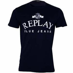 Replay-Vintage-Jeans-Logo-Crew-Neck-Men-039-s-T-Shirt-Navy