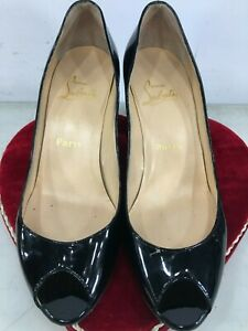 Authentic-Christian-Louboutin-women-shoes-leather-black-clear-patent-size-39