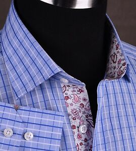 New-Mens-Dress-Shirt-Promotional-Sale-Gingham-Check-Paisley-Sexy-Luxury-Fashion