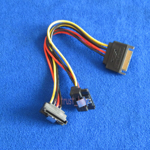 2pcs 15Pin SATA power to 2-port 90 degree right angled SATA Power female Y Cable
