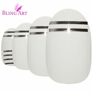 False-Nails-White-Silver-Glossy-Oval-Medium-Bling-Art-Fake-24-Tips-2g-Glue