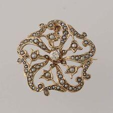 Edwardian Seed Pearl & Diamond Convertible Brooch - 14k Gold Pendant .14ct