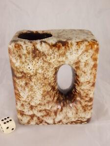 70s-Fat-Lava-Ceramics-Vase-Lochvase-Chimney-4-11-16in-Wgp-Space-Age