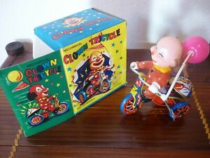CLOWN-TRICYCLE-TIN-TOY-JOUET-TOLE-VINTAGE-60-70-MTU-TTBE-NIB-BOITE