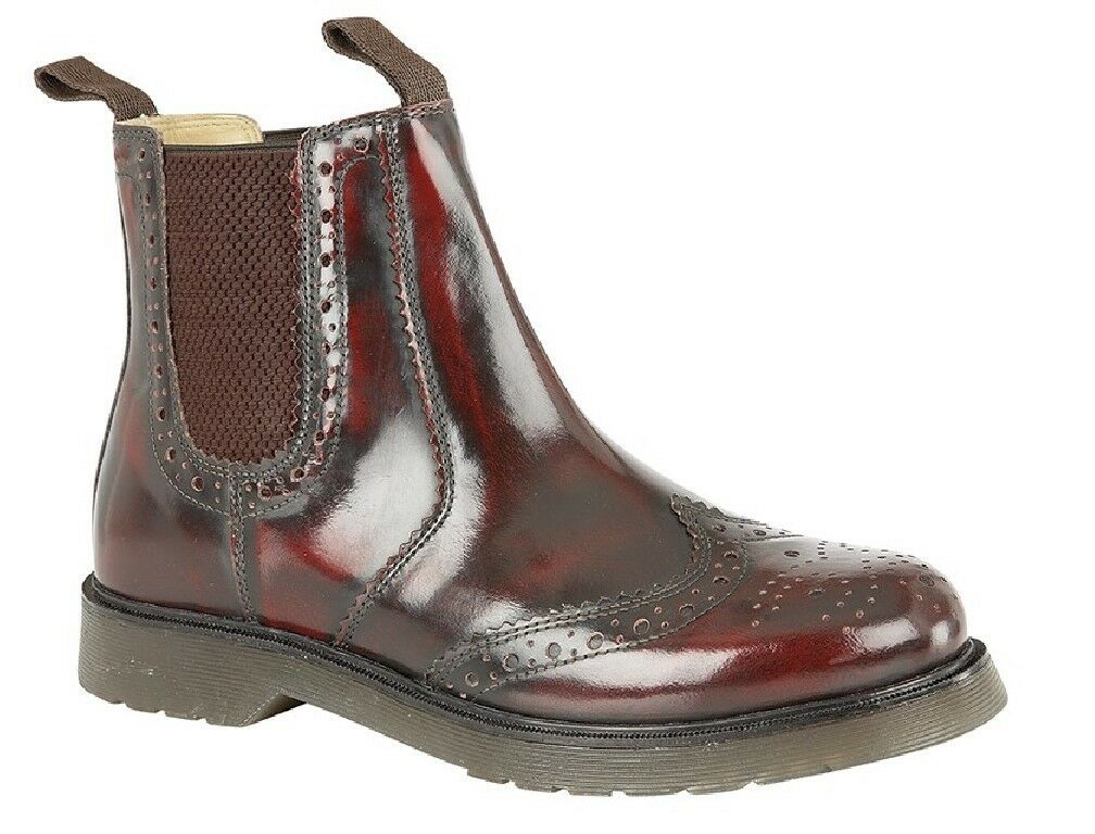 Grafters M757 Classic Brogues GUSSET BOOTS OX BLOOD HI-SHINE