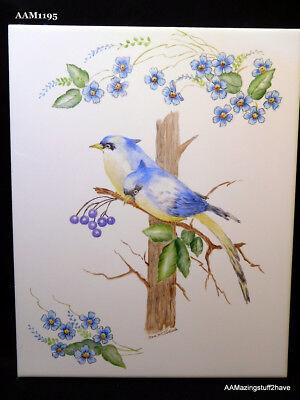 "Ceramic Art Tile 6/""x6/"" Blue birds Cute Bird House Bright hand painted colors F51"
