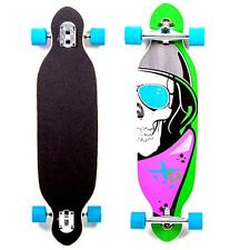 "XQ MAX SKULLS LONGBOARD CRUISER LONG SKATEBOARD BEACH TWIN TIP 38"" BLUE WHEELS"