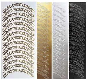 HAPPY-BIRTHDAY-ARCH-Peel-off-Stickers-Card-Making-Sentiments-Gold-or-Silver
