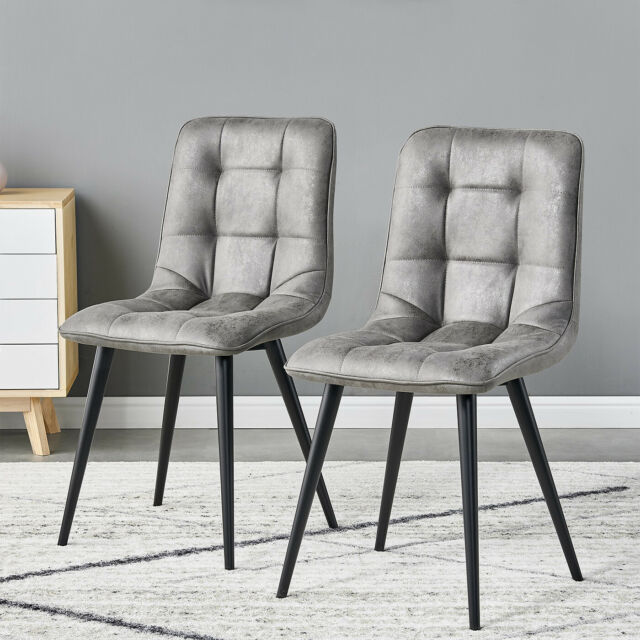 Vidaxl 4x Dining Chair Black Fabric Side Chair Dining Room Kitchen Furniture For Sale Ebay