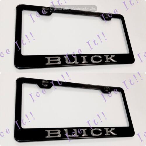 2X 3D BUICK Emblem Black Stainless Steel License Plate Frame