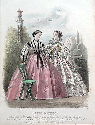 LES MODES PARISIENNE, PARIS FASHION plate 907 antique hand coloured print 1859