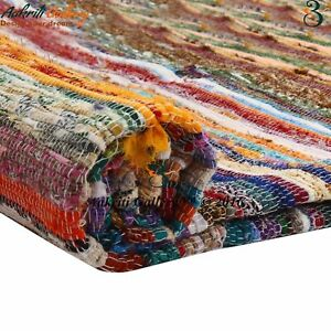 Chindi Cotton Indian 5x7 Feet Handmade Rag Rug Wooven Multi Throw