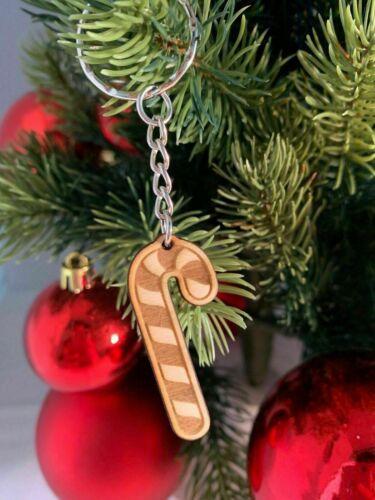 Schlüsselanhänger aus Holz /'ZUCKERSTANGE/' graviert ca 4cm x 2cm