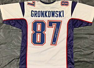 Image is loading New-England-Patriots-Rob-Gronkowski-Signed-White-Jersey- e4229a90d