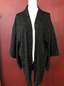 Antique-Japanese-Kimono-silk-Haori-solid-black-floral-brocade-jacket-coat-top