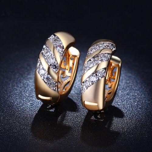 Vintage plaqué or AAA Zircon Hoop Pour Bijoux Boucles d/'oreilles Mariage Femmes
