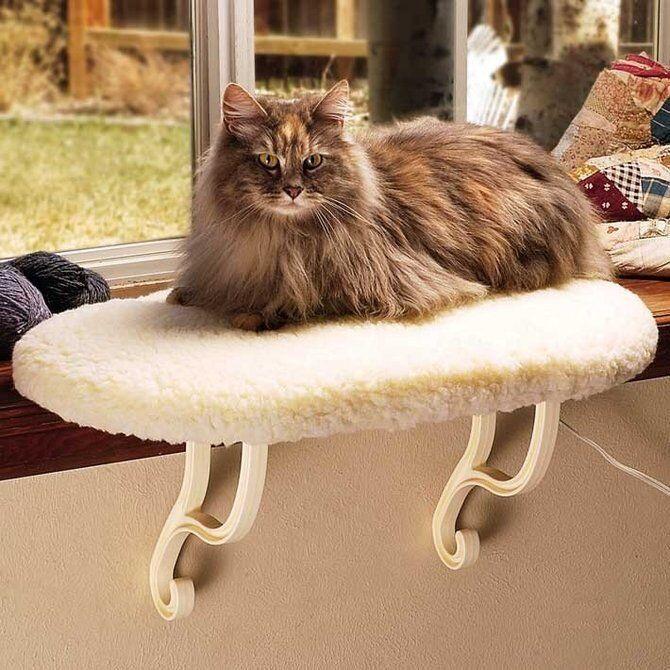 K K K & H Window Sill Perch Cat Pet Window Seat Kitten Thermo Kitty Sill HEATED NEW f5681d