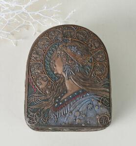 Joyero-Art-Nouveau-chica-cabeza-mujeres-busto-tapa-lata-Antik-dekobox